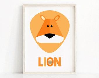 Lion Nursery Art Print,  Download Printable Nursery Wall Art, Kids Print,  Animal Nursery Print, Kids Art,  Safari Nursery Decor, Jungle Art