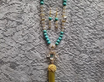 Turquoise and Crystal Tassel Necklace Set.