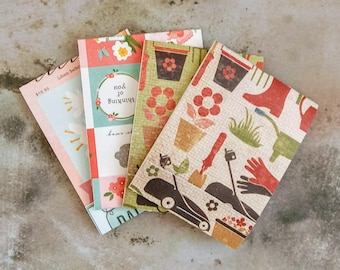 Gardening Matchbook Notebooks, Mini Notebooks, Mini Notepads, Notepads, Pocket Notepad, Floral Notebook, Matchbook Favors, Party Favors