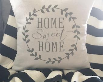 """Home sweet home, 18""""x18"""", pillow cover, farmhouse style, modern farmhouse, cushion cover"""