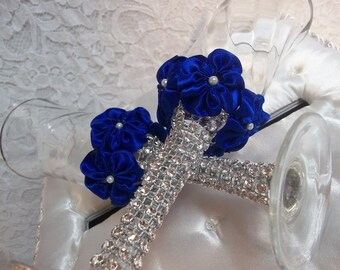 Wedding Champagne Toasting Glasses set with handmade Royal Blue Flower and Rhinestone Mesh Trim, Made to Order