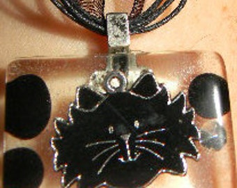 """Black Resin suspended Black Cat, Black Key, Witch Hat and Moon or Bat - Cabochon Necklace w/ 18"""" ribbon"""