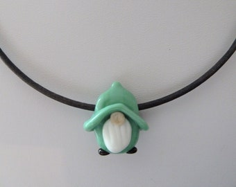 lampwork glass green gnome grey leather cord necklace, uk handmade jewellery
