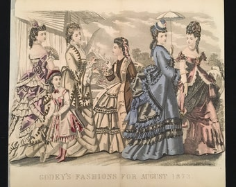 1873 Antique Victorian Fashion Print, Original Hand Colored Engraving from Godey's Fashions, Vintage Print for Framing