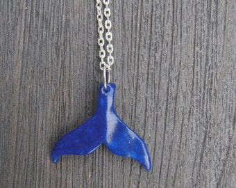Tail fin whale - polymer clay - cernit translucent pendant necklace