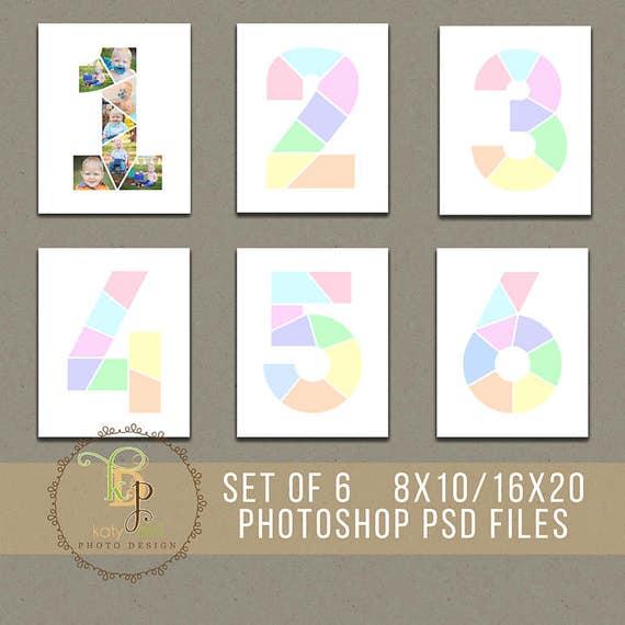 Conjunto de 6 años cumpleaños plantillas de Collage 8 x 10 / 16 x 20 ...