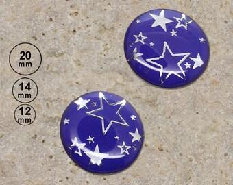 2 round cabochon 20 mm, 14 mm, 12 mm print silver stars