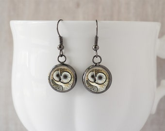 Owl Dangle Earrings - Owl Drop Earrings Owl Earrings Owl Jewelry Bird Earrings Nature Earrings Woodland Jewelry Gift for Wife