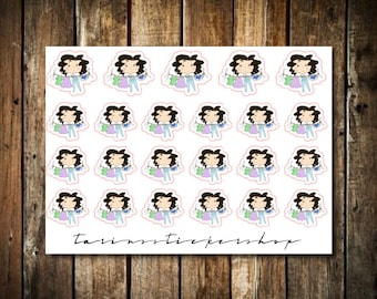 Hanging Laundry - Cute Brunette Girl - Functional Character Stickers