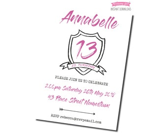 Printable Pink Coat Of Arms Birthday Party Invitation - White Background