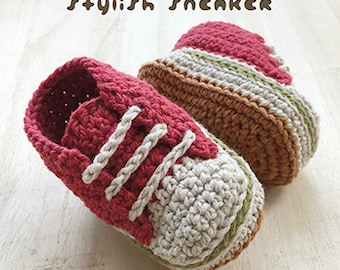 Crochet Pattern Baby Stylish Baby Sneakers Crochet Patterns Baby Shoes Crochet Booties Crochet Pattern Newborn Sneakers Newborn Shoes Red