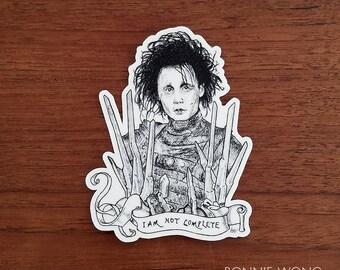 Edward Scissorhands Sticker / Tim Burton / Vinyl Sticker / Laptop Sticker / Decal Sticker / Die Cut Sticker / Johnny Depp / Halloween / Art