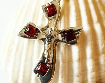 Neue Moderne Sterling Silber Halskette mit Kreuz (aus Silber mit Baltikum Bernstein. )Magische Amulett.Heilige christliche Halskette.