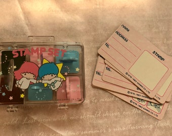 Rare Little Twin Star stamp set,sanrio 1983