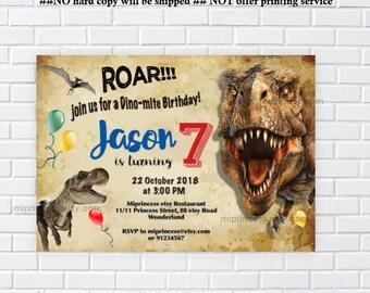 Dinosaur Birthday, realistic dinosaur, birthday party, boy birthday, dinosaur party, printable invitation, dinosaur invite  - card 892