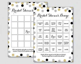 Black and Gold Bridal Shower Bingo Printable - 60 Unique Pre-filled Bingo Cards AND Blank Cards - Black and Gold Glitter Bridal Bingo 0001-K