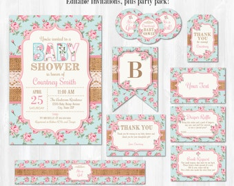 Shabby Chic Baby Shower Invitations - Shabby Chic Baby Shower Ideas - Shabby Chic Invitations - INSTANT DOWNLOAD! Edit NOW!