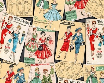 NEW - Robert Kaufman - Sew Dressed Up - Vintage Dress Patterns - Charcoal - Novelty Fabric-Choose Your Cut