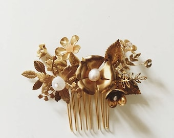 Wildflower comb, size small #1502, all brass