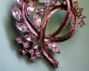 CORO Brooch with Round and Marquis Cut Rhinestones - 1748