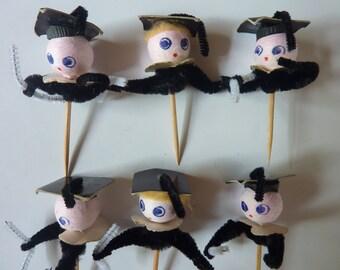 6 Vintage Spun Cotton Graduation Graduate Pick Party Decor Decorations Craft Supply Lot