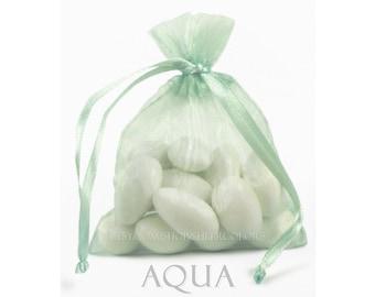 10 Aqua Seafoam Organza Bags, 8 x 12 Inch Sheer Fabric Favor and Gift Bags