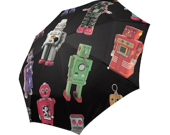 Robots Umbrella - photo-realistic vintage tin robots - whimsical printed foldable umbrella - 60s robots - boys umbrella