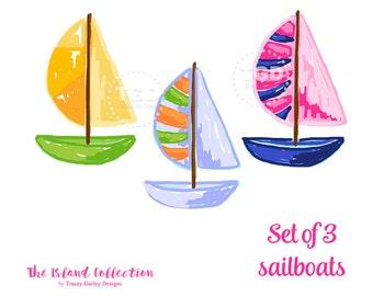 Preppy Sailboat clip art, Preppy boat clip art - Original Art download, preppy clip art, The Island Collection