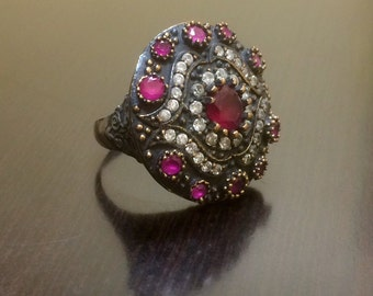 Art Deco Ruby Ring - Victorian Ruby Ring - Antique Style Ring - Handmade Victorian Ring - Ruby Ring - Halo Ruby Ring - Sterling Silver Ring