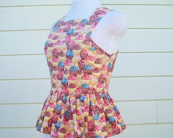 Peplum Top - Let Them Eat Cupcake Peplum Top, Cupcake Print, Dessert Print Clothing, OOAK Top in Size Medium
