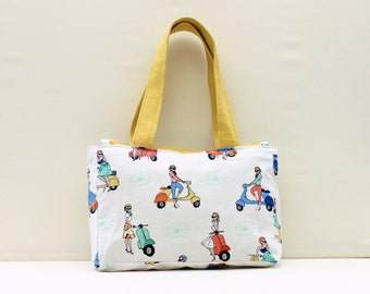 Retro Lady and Scooter Handbag