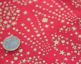 coupon fabric patchwork 50 X 50 cm / gold stars and glitter on red background