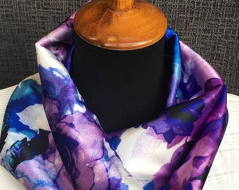 Patrón de púrpura bufanda, bufanda de la flor, bufanda, bufanda de la acuarela, Infinity bufanda, bufanda Floral, único bufanda, bufanda de colores, mujer regalo, chimenea