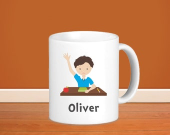 Student Kids Personalized Mug - Student Sitting at Desk Boy with Name, Child Personalized Ceramic or Poly Mug Gift