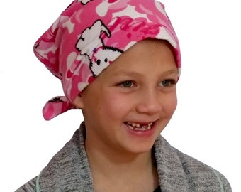 Jaye Children's Flannel Head Cover, Girl's Cancer Headwear, Chemo Scarf, Alopecia Hat, Head Wrap, Cancer Gift for Hair Loss - Pink Puppies