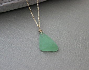 Gold filled genuine sea glass necklace - bright seafoam green -pale olive green - Tropical Beach - wire wrapped satellite chain - beach gift
