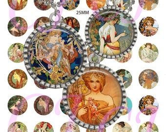 Digital Collage Sheet Art Nouveau Vintage Ladies 25mm 1 inch Circles Vintage Wearable Art Downloadable Glass Dome Jewelry