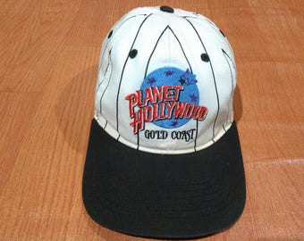 Free Shipping Vintage Planet Hollywood Cap Hat Planet Hollywood Gold Coast