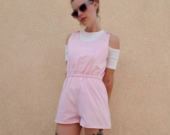 1980s pink and white pinstripe button pocket front elastic waist romper shorts