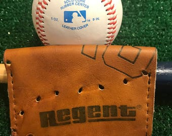 Vintage Baseball Glove Wallet made from Vintage Regent Baseball glove Minimalist Baseball Wallet