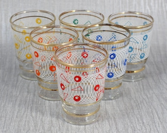 Set of 6 Shot Glasses Screen Printed Colourful Design 1960s Drinking Glasses