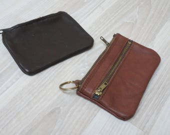 Brown mini keychain leather Wallet change coin pouch change holder with ring purse key chain Vintage clutch real men woman zippered genuine