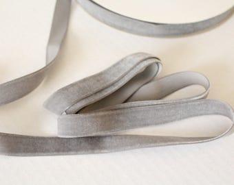 """5/8""""  Metal Gray Ribbon / Grey Velveteen Ribbon  /   VRYM58-017"""