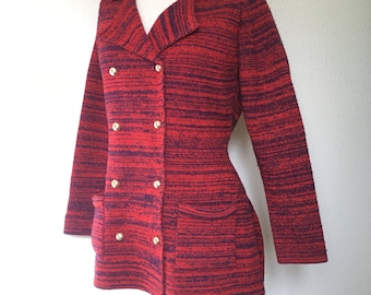 """1960s sweater jacket Full Fashioned, vintage 60s sweater, red navy blue sweater, double breasted cardigan, retro mod sweater, M medium 38"""""""