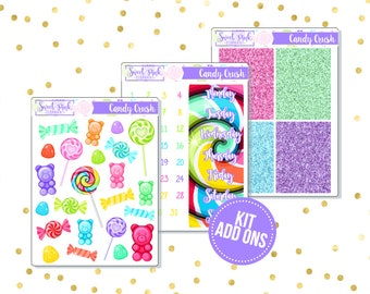 Candy Crush // Kit ADD ONS-Stickers for the EC Happy Planner Life planner