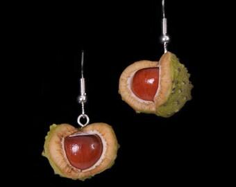 Summer Horse Chestnut (Conker) Earrings