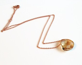 Golden Shadow Swarovski Crystal Briolette Necklace