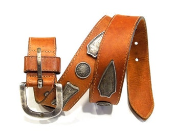VINTAGE: Bohemian Italian Leather Belt - Metal Leather Belt - Western Belt - Brown Belt - (19-A2-00004886)