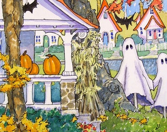 Always the First on the Block...Lets decorate for Halloween!  Original print from Always Hallows painting
