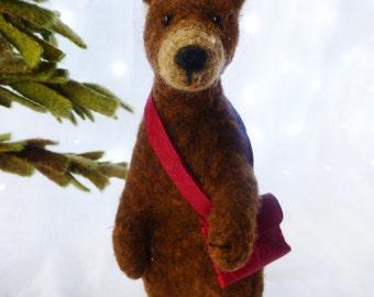 Needle felted animal , needle felted bear , Otto the book bear , needle felted animal , nature table, waldorf art